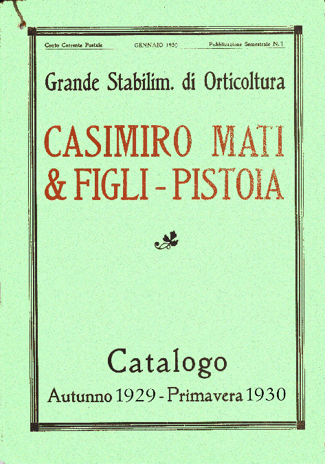 Catalogo Piante Mati 1929 - 1930